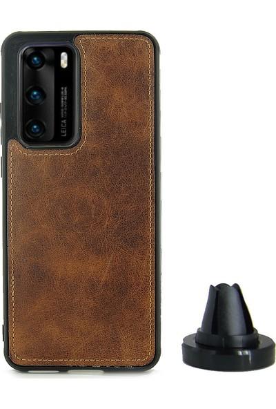 CoverZone Huawei P40 Pro Kılıf Magnetik Özellikli Deri + Araç Tutuculu Hediye Kahverengi