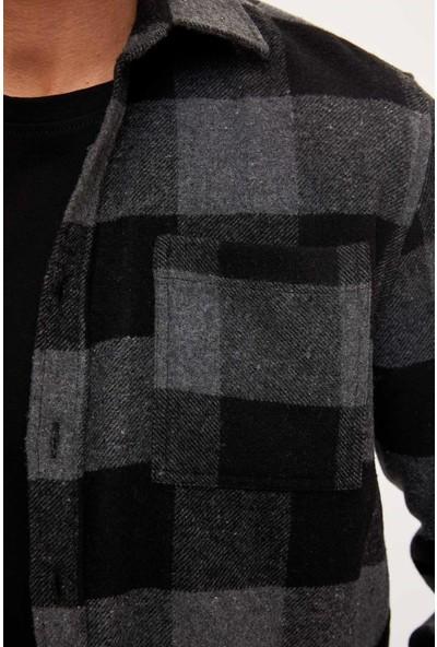 Defacto Erkek Ekose Uzun Kollu Regular Fit Oduncu Gömlek