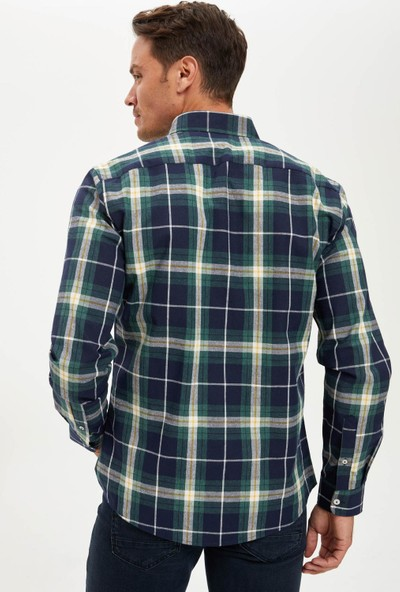 Defacto Erkek Ekose Modern Fit Uzun Kollu Gömlek