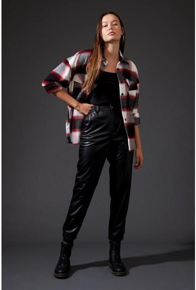 Defacto Kadın Kareli Uzun Kollu Gömlek