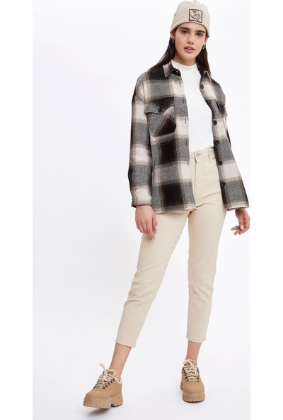 Defacto Kadın Retro Kareli Oversize Gömlek Ceket