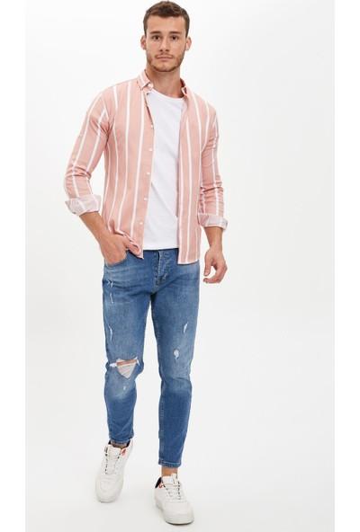 Defacto Erkek Çizgili Slim Fit Uzun Kollu Gömlek