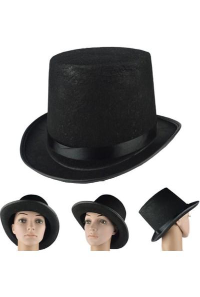 Samur Yetişkin Boy Siyah Renk Keçe Sihirbaz Fötr Şapka