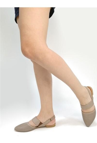 Ballerin's El Yapımı Deri Gri Kadın Babet BLRS-1903