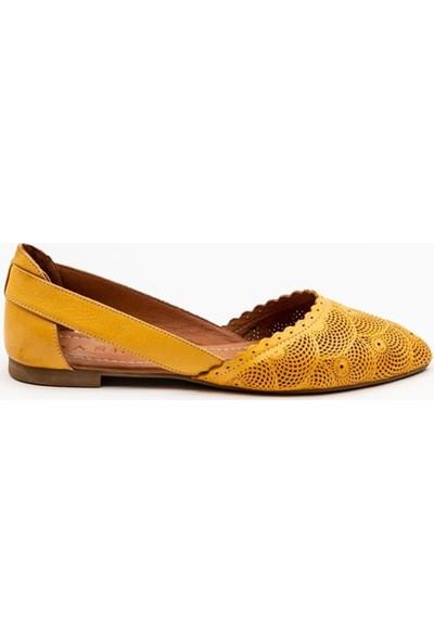 Ballerin's El Yapımı Deri Sarı Kadın Babet BLRS-111-FLOW