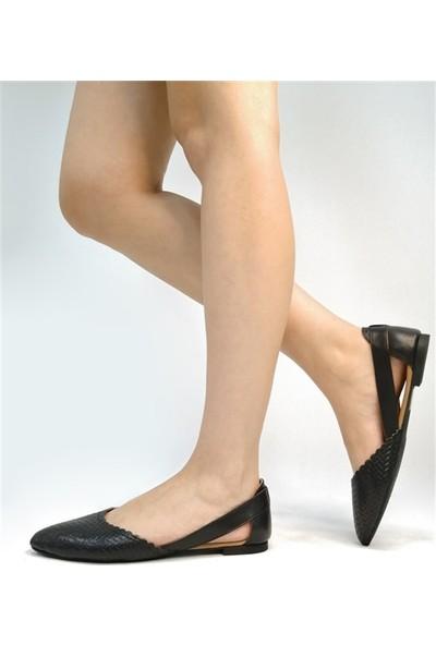Ballerin's El Yapımı Deri Siyah Kadın Babet BLRS-111-50