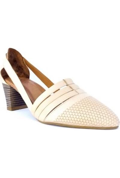 Ballerin's Deri Alın Bej Kadın Ayakkabı