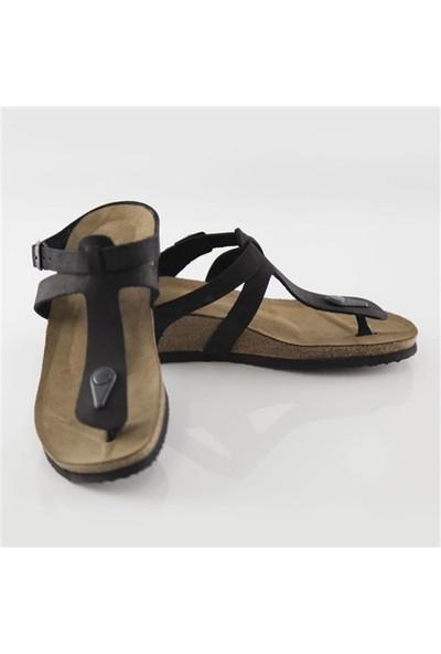 Ballerin's Deri Alında Kadın Siyah Sandalet