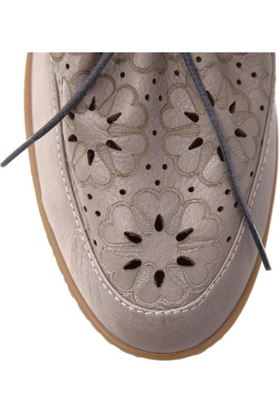 Ballerin's Deri El Yapımı Gri Kadın Ayakkabı