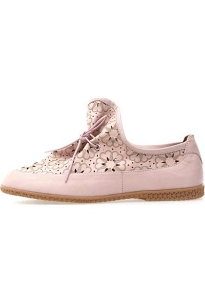 Ballerin's Deri El Yapımı Pudra Kadın Ayakkabı