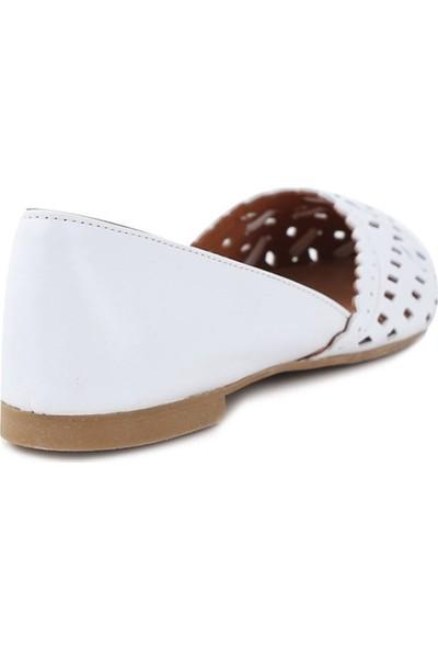 Ballerin's Deri El Yapımı Beyaz Babet BLRS-112