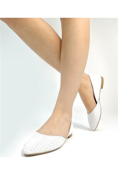 Ballerin's Deri El Yapımı Beyaz Babet BLRS-112-15