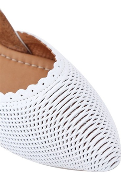 Ballerin's Deri El Yapımı Beyaz Babet BLRS-112-20