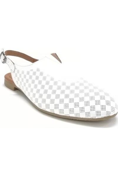 Ballerin's Deri El Yapımı Beyaz Babet BLRS-142-10