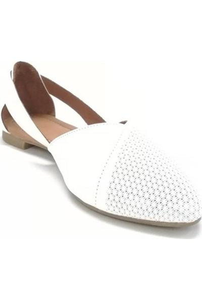 Ballerin's Deri El Yapımı Beyaz Babet BLRS-2480