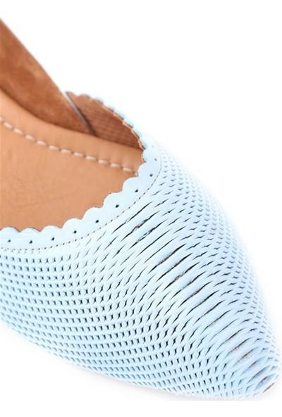 Ballerin's Deri El Yapımı Buz-Mavi Babet BLRS-112-20