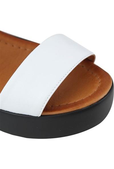 Ballerin's Deri El Yapımı Kadın Beyaz Sandalet BLRS-561