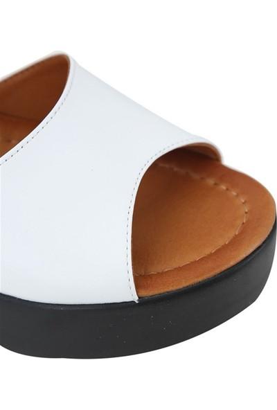 Ballerin's Deri El Yapımı Kadın Beyaz Sandalet BLRS-563