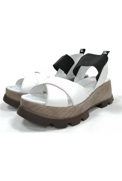 Ballerin's Deri El Yapımı Kadın Beyaz Sandalet BLRS-5636