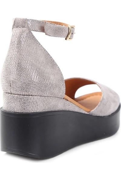 Ballerin's Deri El Yapımı Kadın Gri Sandalet BLRS-954