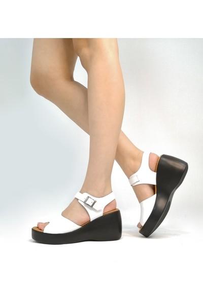 Ballerin's Deri El Yapımı Kadın Kırmızı Sandalet BLRS-563