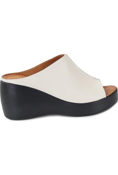 Ballerin's Deri El Yapımı Kadın Krem Sandalet BLRS-567