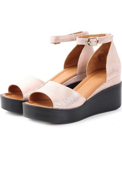 Ballerin's Deri El Yapımı Kadın Pudra Sandalet BLRS-954