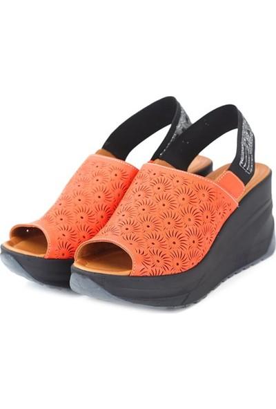 Ballerin's Deri El Yapımı Kadın Turuncu Sandalet BLRS-520