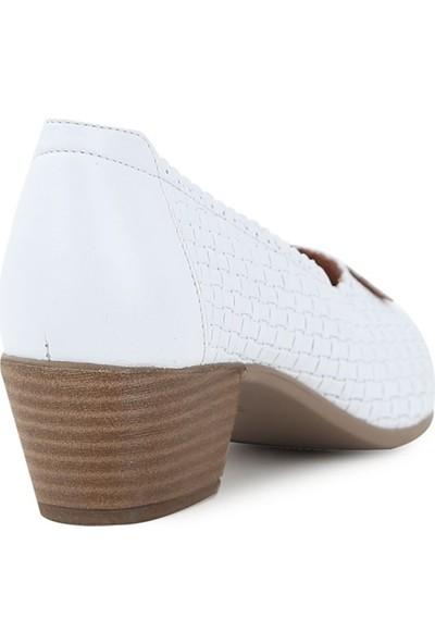 Ballerin's Deri El Yapımı Kate Kadın Beyaz Ayakkabı