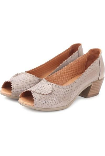 Ballerin's Deri El Yapımı Kate Kadın Gri Ayakkabı