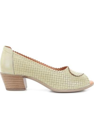 Ballerin's Deri El Yapımı Kate Kadın Haki Ayakkabı