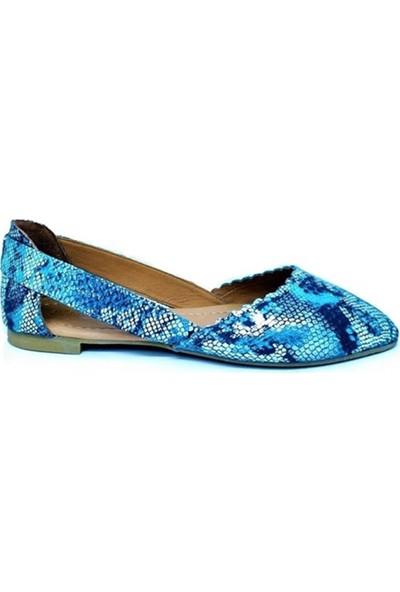 Ballerin's Deri El Yapımı Mavi Yılan-Desen Babet BLRS-SUZY111