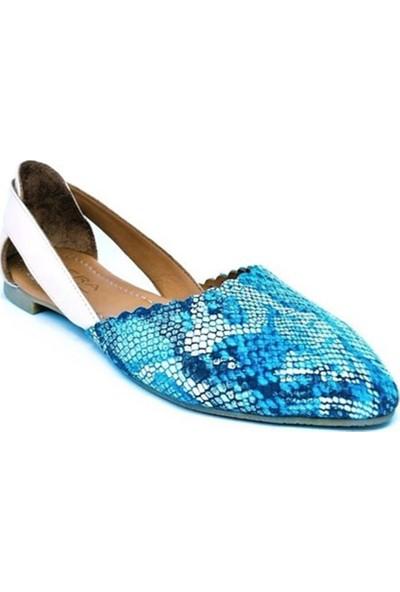 Ballerin's Deri El Yapımı Pudra-Mavi Babet BLRS-SUZY111