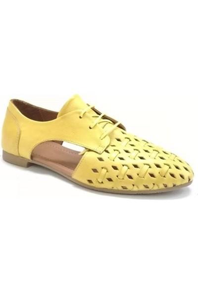 Ballerin's Deri El Yapımı Sarı Babet BLRS-042-1