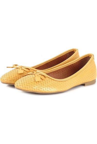 Ballerin's Deri El Yapımı Sarı Babet BLRS-1010