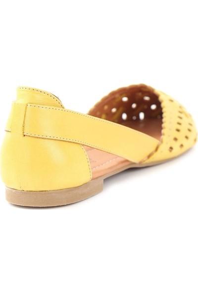 Ballerin's Deri El Yapımı Sarı Babet BLRS-111