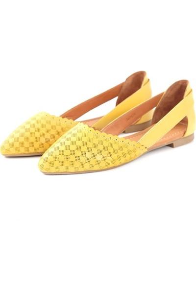 Ballerin's Deri El Yapımı Sarı Babet BLRS-111-30