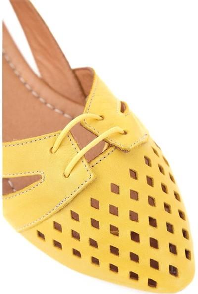 Ballerin's Deri El Yapımı Sarı Babet BLRS-125