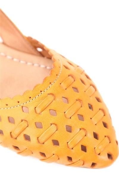 Ballerin's Deri El Yapımı Turuncu Babet BLRS-111