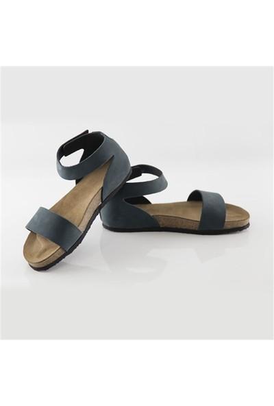 Ballerin's Deri Limya Kadın Lacivert Sandalet