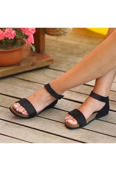 Ballerin's Deri Limya Kadın Siyah Sandalet