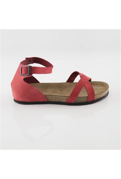 Ballerin's Deri Milet Kadın Kırmızı Sandalet