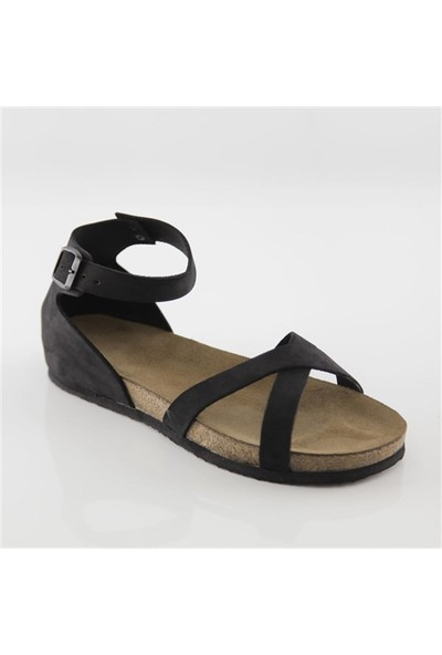 Ballerin's Deri Milet Kadın Siyah Sandalet