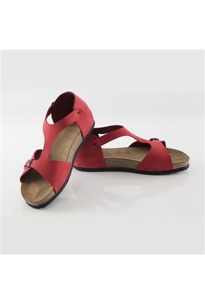 Ballerin's Deri Myra Kadın Kırmızı Sandalet