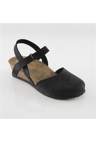 Ballerin's Deri Peige Kadın Siyah Sandalet