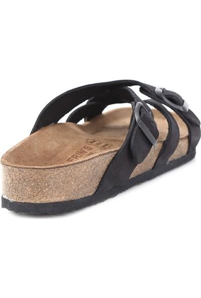 Ballerin's Deri Teos Erkek Siyah Sandalet