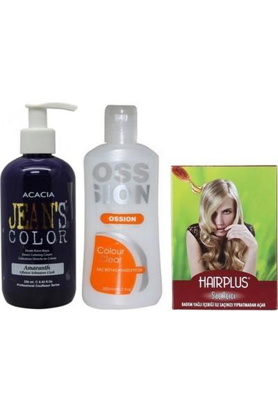 Acacia Jeans Color Saç Boyası Eflatun 250 ml ve Boya Temizleyici ve Saç Açıcı
