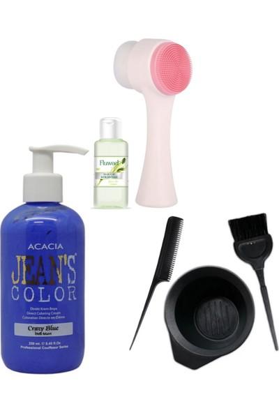 Acacia Cilt Yüz Temizleme Fırçası ve Acacia Deli Mavi Saç Boya Seti
