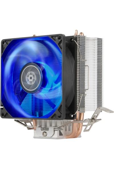 SilverStone KR03 Intel & AMD Uyumlu, 9cm Mavi Led Fanlı, Kule Tipi İşlemci Soğutucu (SST-KR03)