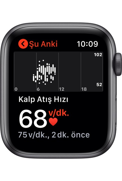Apple Watch SE 44mm GPS Space Gray Alüminyum Kasa ve Siyah Spor Kordon MYDT2TU/A